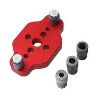 Heißer Verkauf Dübel Jig für 6 8 10mm Holz Gelenke Bohren Verstellbare Tasche Loch Jig Aluminium Legierung Holzbearbeitung Bohrer leitfaden Werkzeug für Fühlerlehren Werkzeug -