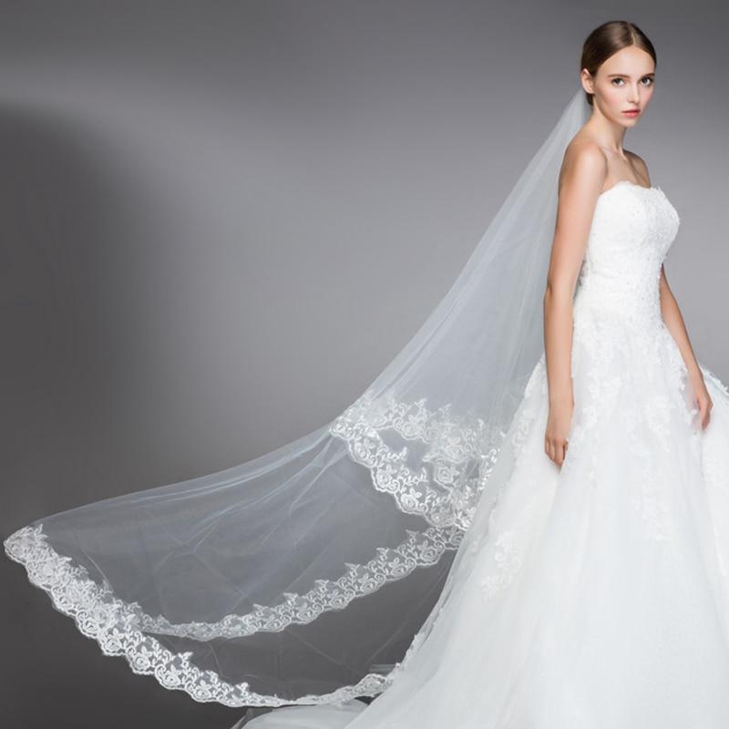 Cathedral Wedding Veils 1.3/1.8/2.5/5M 4.3/6/8.2/16.4Ft Long Lace Edge Bridal Wedding Accessories Mariage Bride Wel Wedding Veil