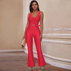 Ocstrade Red Bandage Jumpsuit 2020 New Summer Women Sexy Bandage Jumpsuit Boddycon Club Evening Party Jumpsuit