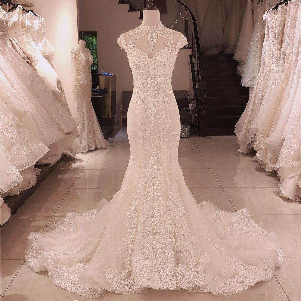 SL-5093 SuLi Sexy High Neck Backless Mermaid Wedding Dresses 2020 Pearl Bridal Dress Romantic Wedding Gowns(China)