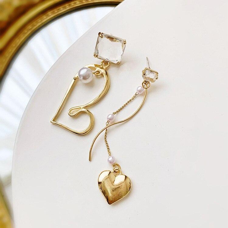 2019 New Arrival Crystal Trendy Geometric Women Dangle Earrings Asymmetric Love Pearl Earrings Drop Earrings Jewelry Earrings