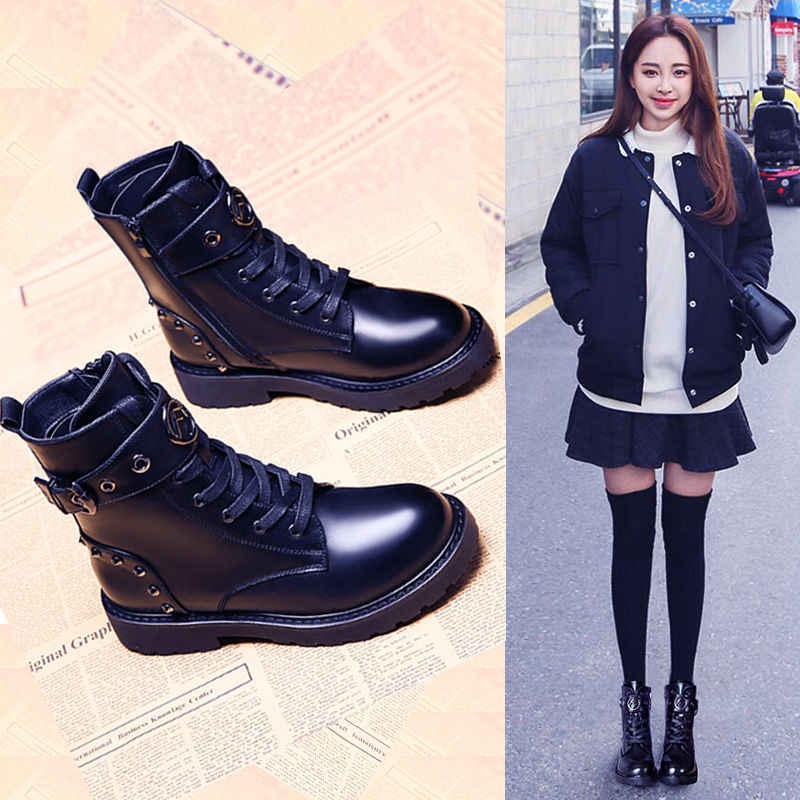 Kadın kalın alt kar botları 2019 kış Martin çizmeler kadın ayak bileği askeri fermuar marka kış sıcak platformu kama topuk ayakkabı