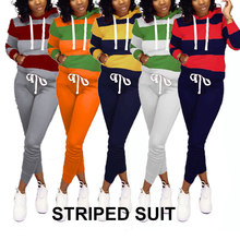 цена на Women 2 Pcs Outfits Striped Hoodie Sweatshirt Long Sleeve Top Trouser Set Pants with Drawstring FDC99