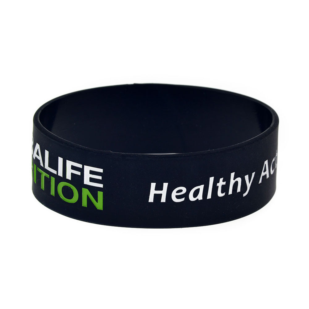 OBH 1PC Healthy Active Lifestyle Silicone Wristband 1 Inch Wide Black