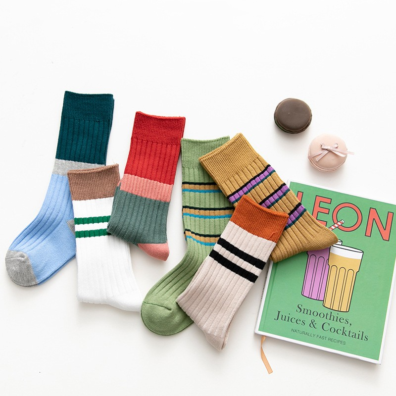 Children\'s Socks Autumn And Winter Double Needles Two-way Spelling Color Strips  Combed Cotton Tube Children Socks