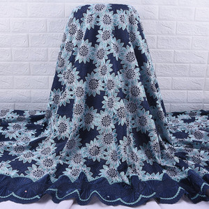 Image 1 - African Lace Fabric 2019 High Quality  French Voile Lace Fabric Embroidery Floret Nigerian Fabric For Wedding Dress Party A1728