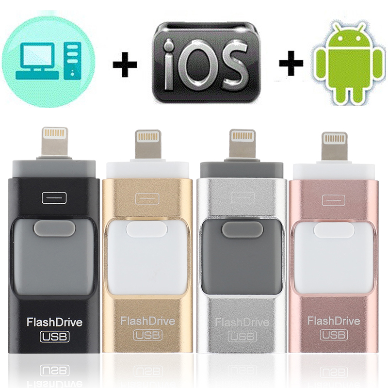 3in1 128GB 64GB 32GB 16GB 8GB Metal USB 3.0 OTG IFlash Drive HD USB Flash Drives For IPhone For IPad For IPod And Android Phone