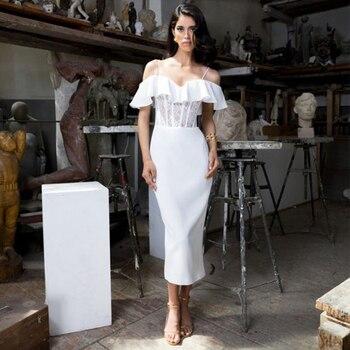 Ocstrade New Fashion Ruffle White Bandage Dress 2020 Summer Women Sexy Midi Lace Bandage Dress Bodycon Club Evening Party Dress ruffle armhole solid bodycon dress