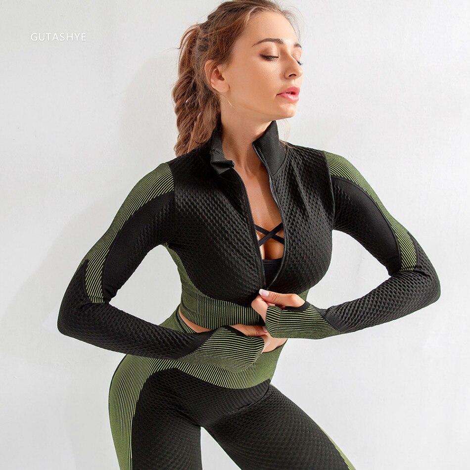 GUTASHYE fitness women suit Seamless Yoga Set Workout Gym Set Push Up Seamless Long Sleeve Crop