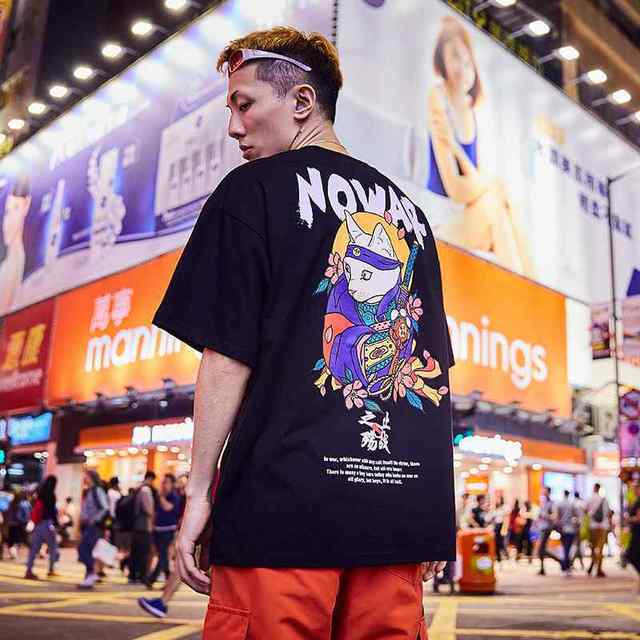 Special Japanese Tide brand short-sleeved men and women summer street hip hop T-shirt Chinese style lovers with half sleeves