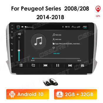 2din Android 10 Car Radio For Peugeot Series 2008 208 2014-2018 Car Multimedia Player Autoradio Car NODVD Player GPS Navigation image