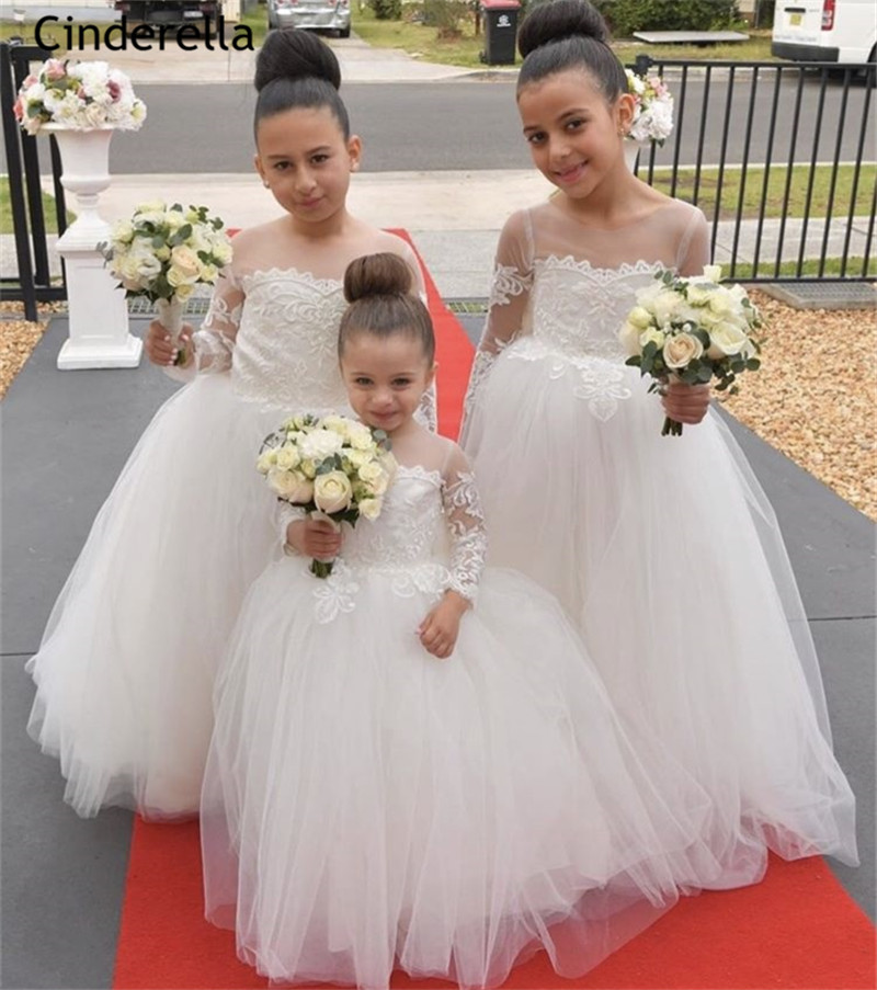 Cinderella Fashion Scoop Long Sleeves A-Line Tulle   Flower     Girls     Dresses   With Hand Made Bow Little   Girls   Wedding Party   Dresses