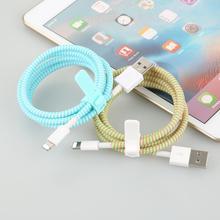 1 4M lina sprężynowa sznurka ochrona kabla ochrona kabla ochrona linii danych kabel pokrywa ładowarki dla IPhone Android Dataline tanie tanio centechia CN (pochodzenie) Z tworzywa sztucznego Data line protector length 140 cm Cable Winder