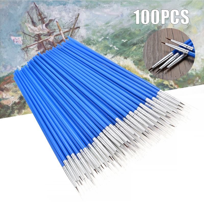 100PCS Pointed Painting Brush Set Art Miniature Paint Fine Detail Drawing Craft