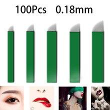 100Pcs 0.18Mm Laminas Tebori 11 12 14 17 18 U Pinsเข็มMicrobladingแต่งหน้าถาวรTattooเข็มสำหรับ3D Eyebrowคู่มือปากกา