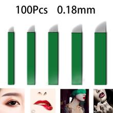 100pcs 0.18mm Laminas Tebori 11 12 14 17 18 U Pins Microblading needles Permanent Makeup Tattoo Needle for 3D Eyebrow Manual Pen