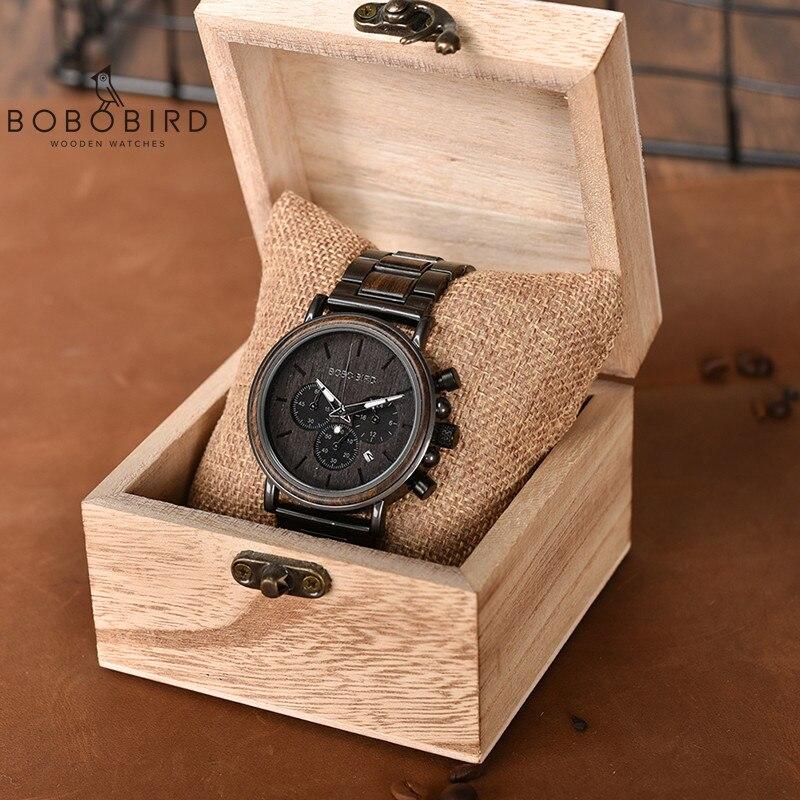 BOBOBIRD Male Watch Wooden Men Wristwatches Luminous Handle Chronograph Timepiece relogio masculino In Gift Box