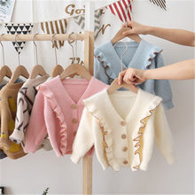 Girls Cardigan Sweaters 2020 New Spring Autumn New Children's Sweater Ruffled V-neck Long Sleeve Cardigan Girl Knitted Sweater(China)