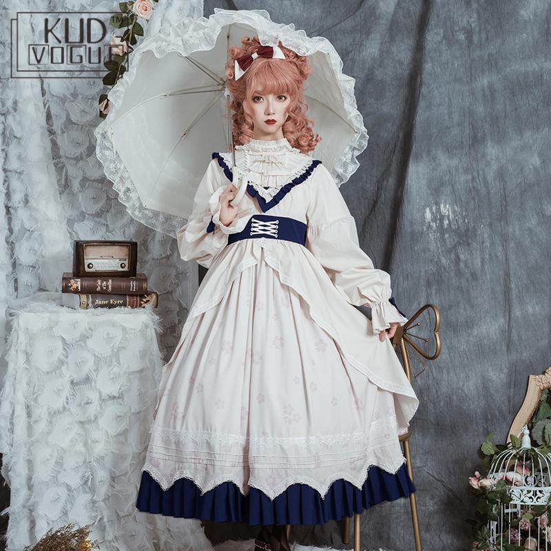 Sweet Lolita Dress Victorian Vintage Gothic Palace Princess Party Dress Lantern Sleeve Printing High Waist Kawaii Women Clothes