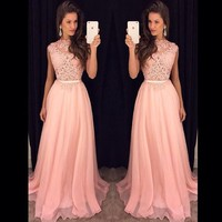 2020 New Long Bridesmaid Dresses Sleeveless Chiffon Lace Pink Wedding Party Dress Formal Prom Gowns Vestido De Noiva Plus Size