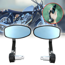 New Pair 7/8 22mm Universal CNC Motorcycle Bar End Black Rearview Side Mirrors for Triumph Speed Triple Motocross Parts
