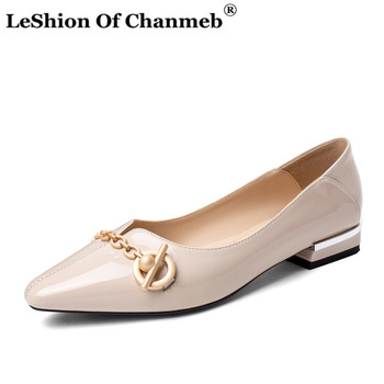 2020 Women's Patent Cow Leather Flats Woman Stylish Metal Chain Deco Slip ons Spring Summer Single Shallow Shoes Ladies Footwear