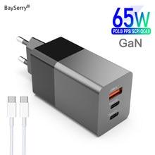 Bayserry 65w carregador gan carga rápida pd 4.0 3.0 tipo c usb carregador rápido portátil para macbook pro para iphone 12 xiaomi portátil