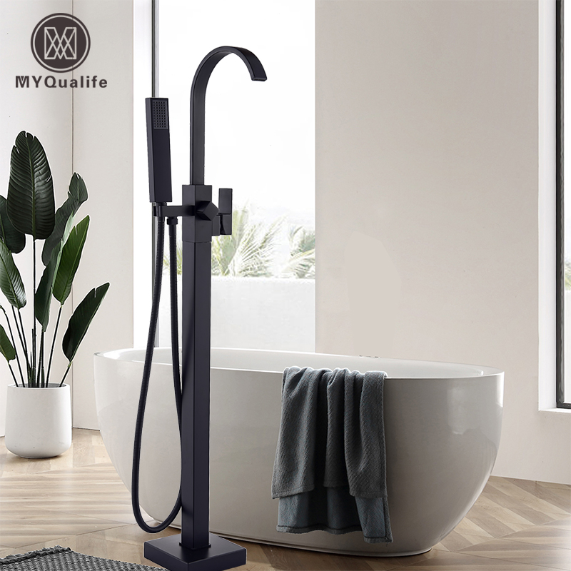 Luxury Matte Black Bathtub Faucet Freestanding Bathroom Tub Faucet  6 Types Spout Floor Mounted Bath Shower Mixer Tap
