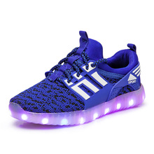 цены Children luminous sneakers for boys and girls glowing sneakers led shoes,kids Usb charging light shoes kids, children's tennis