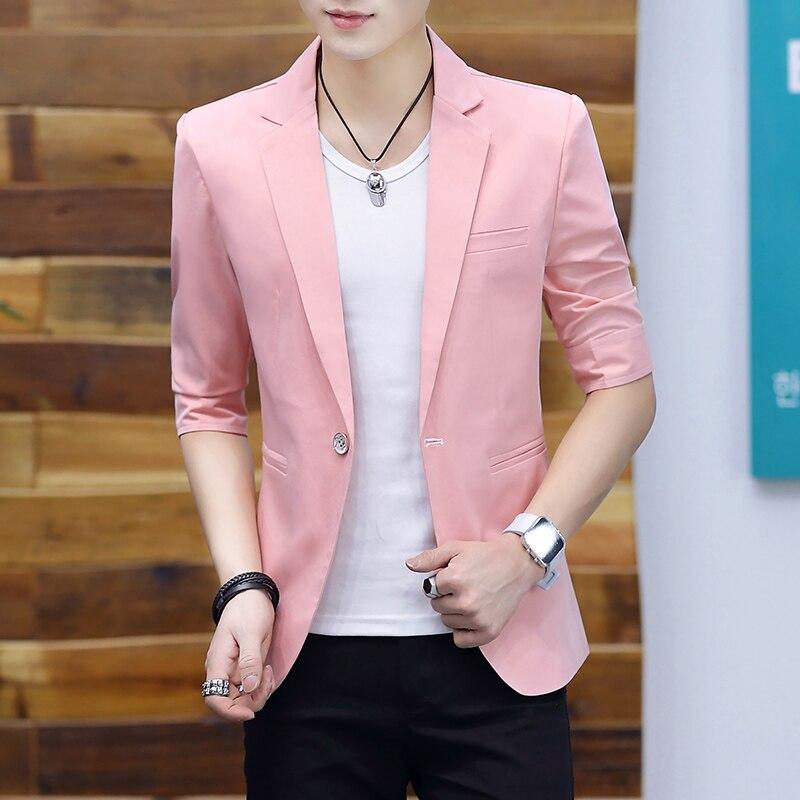 Blazer Men 2020 Summer New Fashionable Casual Solid Half Sleeve  Slim One-button Blazer For Men