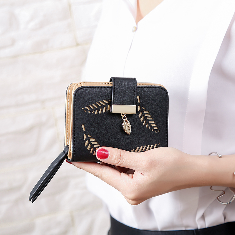 Short Leather Wallet For Women Zipper Ladies Wallet Luxury Brand Small Purse Female Wallets Hollow Leaves Black Khaki Carteira