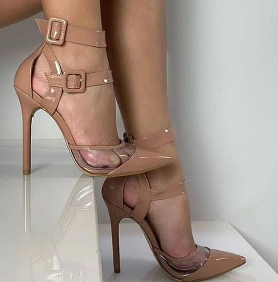 Moraima Snc Nude Patent Leather High Heel Shoes Sexy Pointed Toe PVC Patchwork Ankle Strap Pumps Woman Dress Shoes