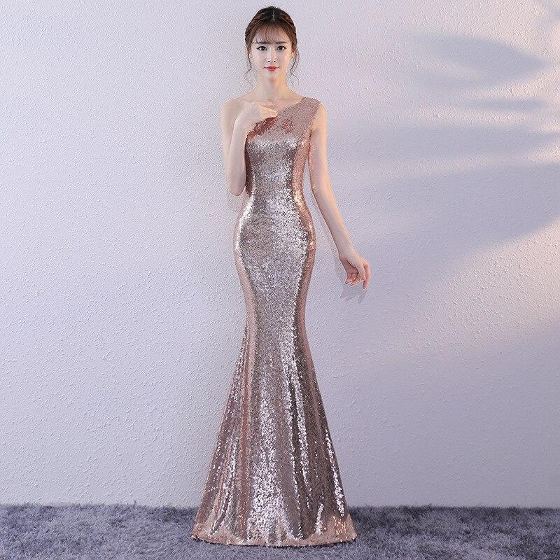 2020 Vestido Cocktail Sequin Evening Dress Long Women 2020 New Celebrity Banquet Noble Elegant Fishtail  Autumn