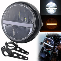 Motorcycle 7.5 LED Halo Projector Headlight DRL Turn Signal Round Headlamp For Harley Sportster XL 883 1200 FatBob Victory BMW