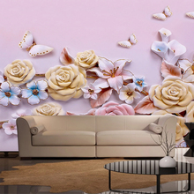 Customize Photo Pink Wallpaper For Walls European Style Butterfly Colorful Flower TV Background Mural Wall Painting Wallpaper 3D