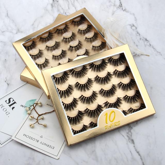 5/10 Pair 3D Mink Eyelashes Fluffy Dramatic Eyelashes Makeup Wispy Mink Lashes Natural Long False Eyelashes Thick Fake Lashes 1