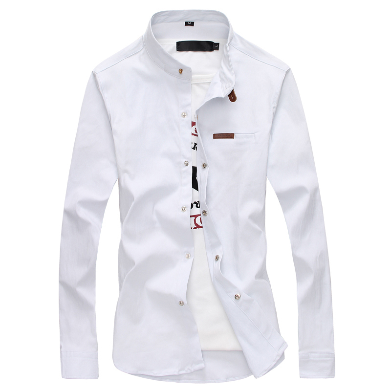 Casual Mens Dress Shirts Long Sleeve Black Luxury Party Business Fashion Cotton Slim Fit High Collar Stage Western Shirt