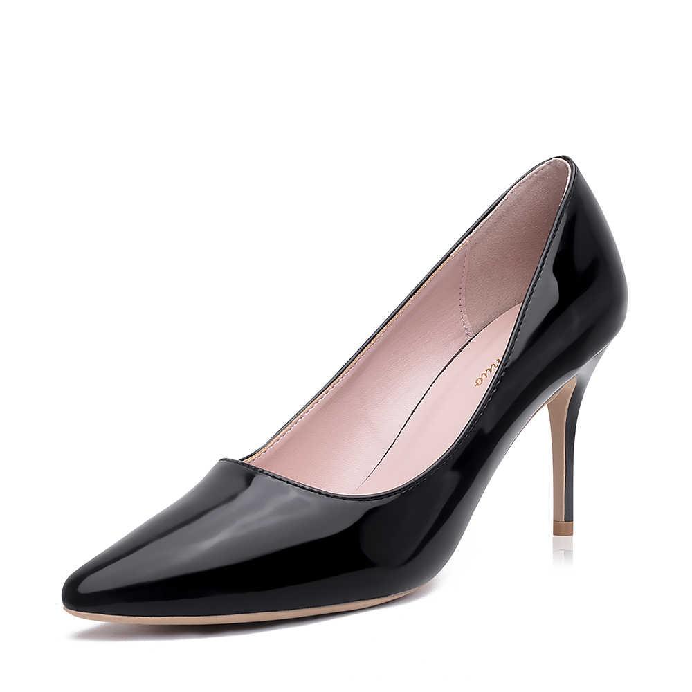 GENSHUO Mulheres Bombas Marca de Salto Alto de Couro Preto Do Dedo Do Pé Apontado Sexy Sapatos Stiletto Mulher Ladies Plus Size Big 11 12