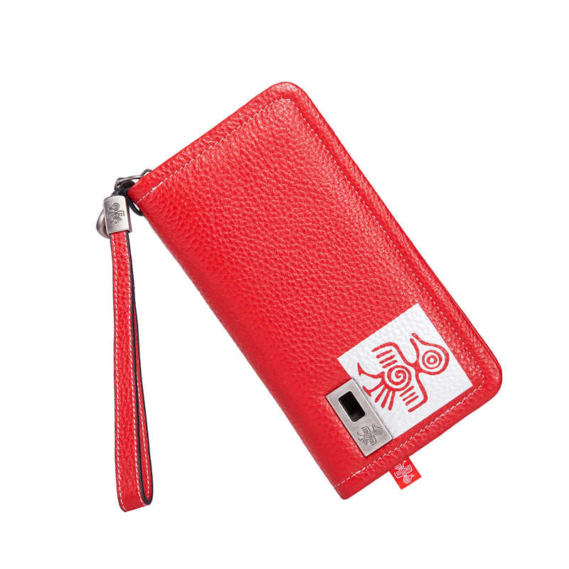 Orabird Luxury Women's Red Long Slim Wallet Genuine Cow Leather Ladies Wallets Purse Wristlet Strap Card Holder Phone Money Bag