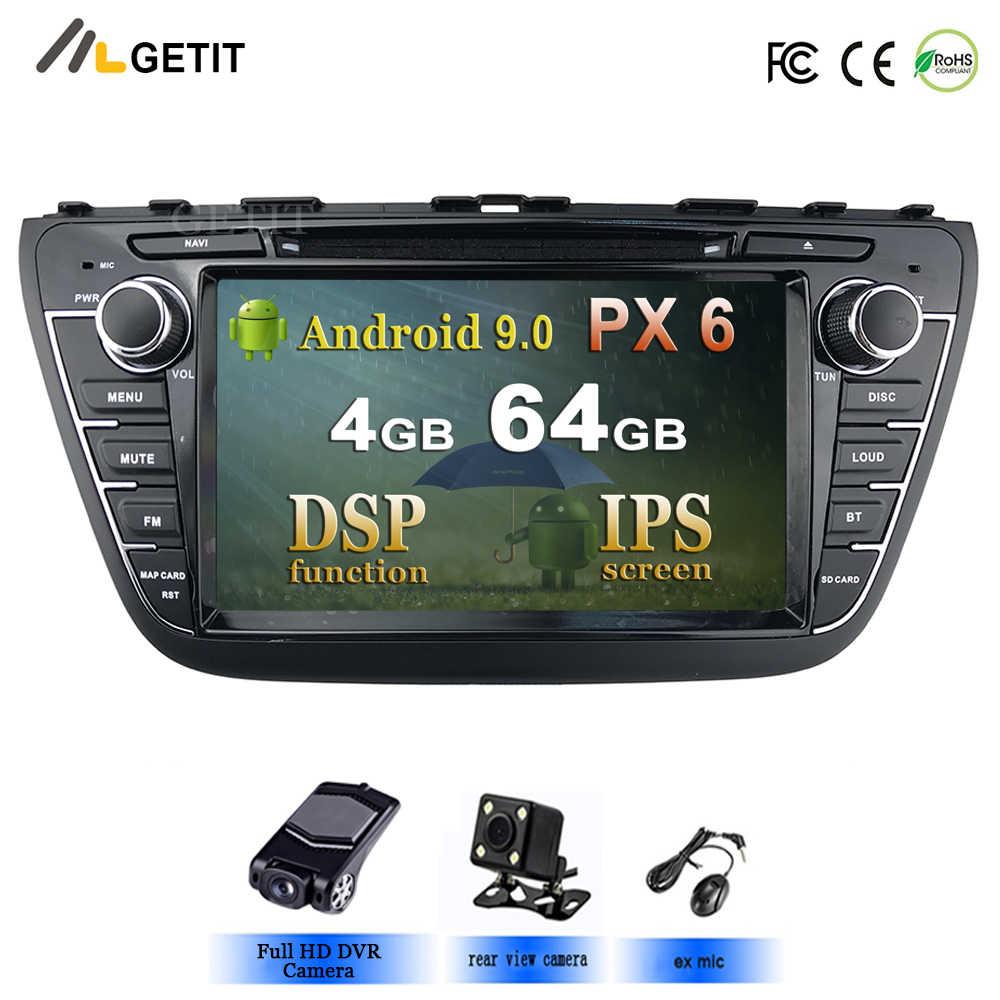 5usb android 9.0 4g 64g dsp ips saída av carro dvd player para suzuki sx4 S-CROSS s cruz 2014 2015 gps navegação rádio estéreo