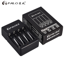 PALO 4 Slots USB Smart rechargeable battery Charger for 1.2V Ni Mh Ni Cd AA AAA Rechargeable batteries