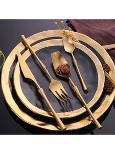 Dinnerware-Set Spoons Cutlery-Set Forks-Knives Christmas-Gift Stainless-Steel Gold Western