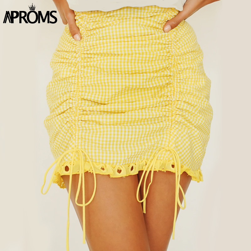 Aproms Elegant Yellow Lace Trim Mini Skirt Women Summer High Waist Back Zipper Ruched Skirts Cool Girls Streetwear Bottoms 2020
