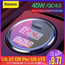 Baseus carga rápida 4.0 3.0 carregador de carro para xiaomi mi 9 redmi nota 7 pro 45w pd carregador de telefone rápido afc scp para iphone 11 pro max