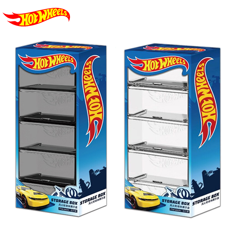 Combined Storage-Box Display Hotwheels Model Boy Toys Transparent 1/64-Cars for Kid 5-Boxes-Set