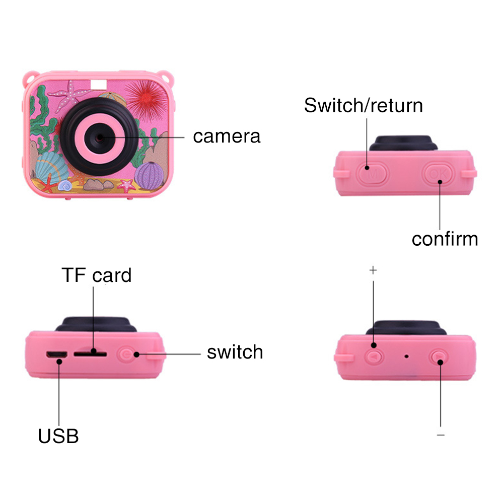 Children Waterproof USB Rechargeable Anti Fall 2 Inch Screen Video Camera Mini ABS Recoder Gift Camcorder HD 1080P Digital Toys image