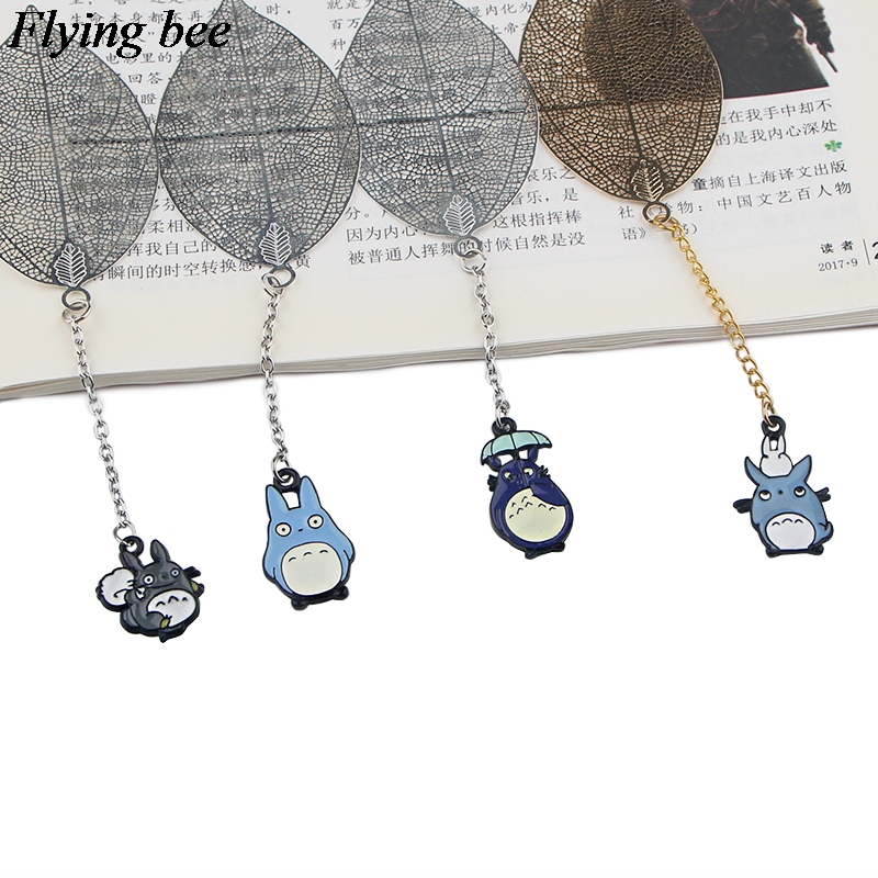Flyingbee Leave Pendant Totoro Metal Bookmarks Cool Book Markers Page Holder For Books Stationery Gifts X0788