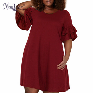 Image 2 - Nemidor Women Vintage Ruffles Sleeve O neck 50s Party Stretchy A line Dress Plus Size 7XL 8XL 9XL Casual Swing Dress With Pocket