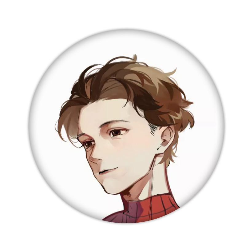 1PCS Peter Parker Icon Plastic Badge Cute Marvel Hero Avengers Brooch Pin For Decoration On Backpack Clothes Scarf Kids Gifts
