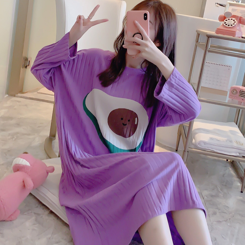 New Style Spring And Autumn Pure Cotton Long Sleeve Pajamas Cartoon Nightgown One-piece Home Less WOMEN'S Underwear